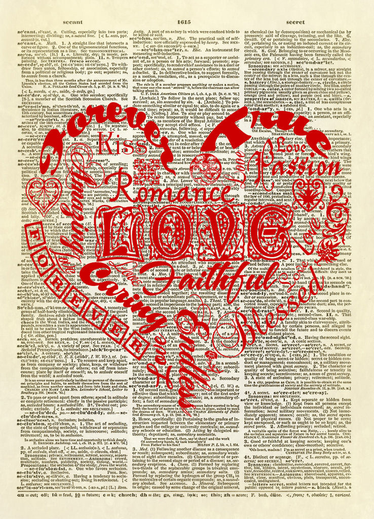 Love Words Typography Heart Dictionary Art Print