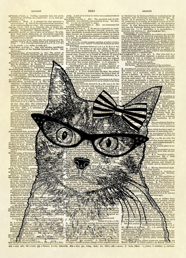 Cat Eye Glasses Kitty Dictionary Art Print