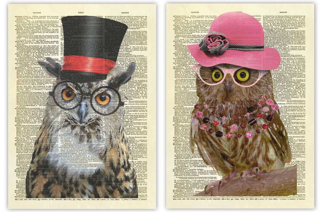 Mr. and Mrs. Owl Duo Color Dictionary Art Prints