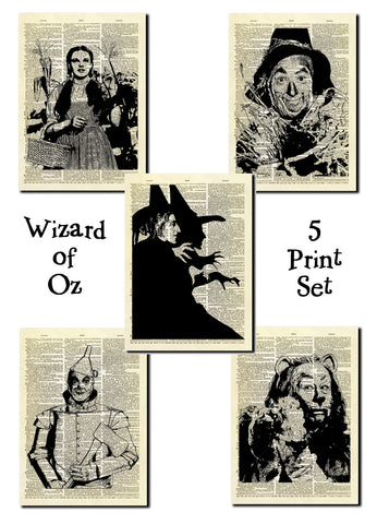 Wizard of Oz Set of 5 Dictionary Art Prints