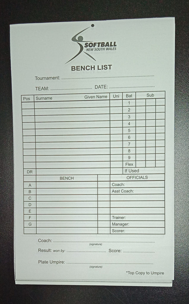 Softball NSW Line Up Pad