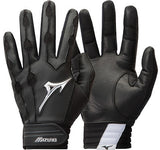 Mizuno Covert Youth Baseball Batting Gloves Black