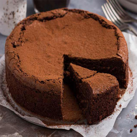 Maida's  Crowd-Favorite Gluten Free Flourless Dark Chocolate Cake