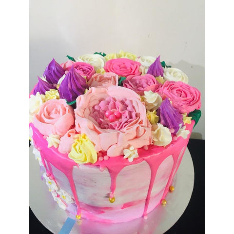 Pink Bouquet Birthday Cake