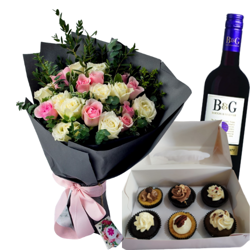 Sweet & Healthy Trio Combo - Flowers, Keto cupcakes and wine - DavaoShop - Send flowers, gifts to your loved ones in Davao City - the 1st Online Shop in Davao Since 2003
