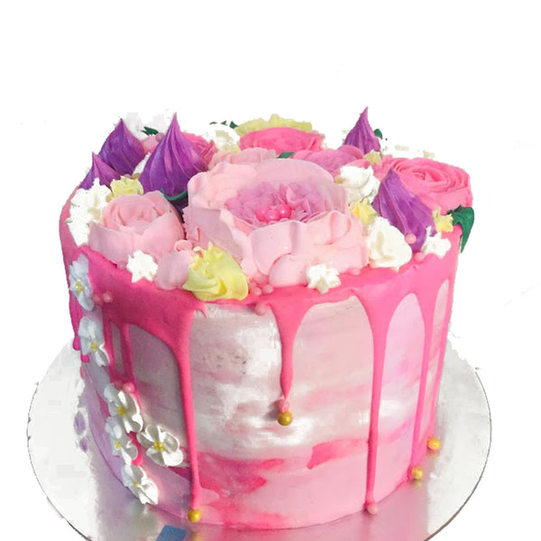 Pink Bouquet Birthday Cake - DavaoShop - The 1st Online Shop in Davao Since 2003
