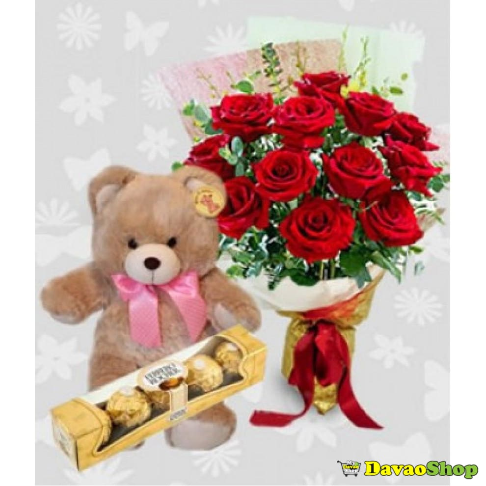 Red Hot Trio - Flowers, Chocolates and a Plush Teddy Bear - DavaoShop - Send flowers, gifts to your loved ones in Davao City - the 1st Online Shop in Davao Since 2003