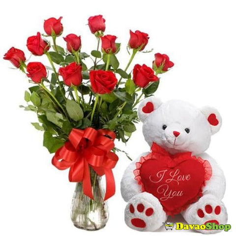 Red Rose Cuddle - Flower Arrangements | Davaoshop - The 1St Online Shop In Davao Since 2003