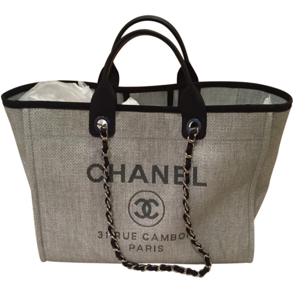 Chanel Large Grey Deauville Tote with Silver Chain