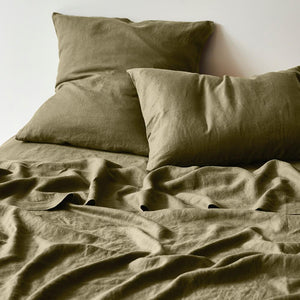 Moss Linen Fitted Sheet