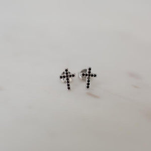 Sparkle Cross Studs | Black