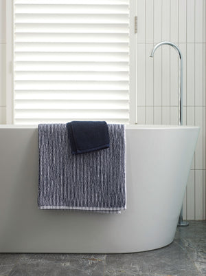 Stripe Organic Cotton Towel Range | Navy/White