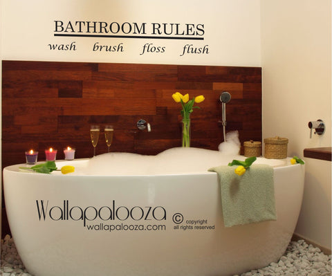 Bathroom Rules Wall Decal - Bathroom Wall Decor - Bath Wall Decal