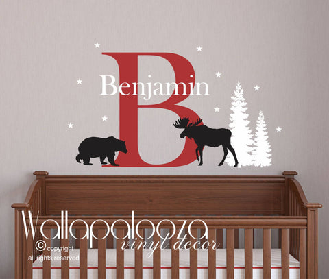 Woodland Wall Decal - Outdoor wall Decal - Moose/Bear Wall Decal