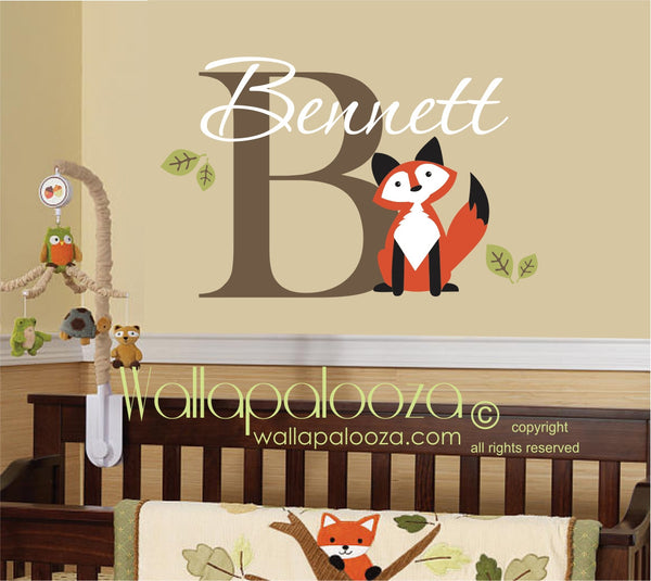 Fox wall decal - fox wall art - fox nursery wall decal - Personalized wall decal with name