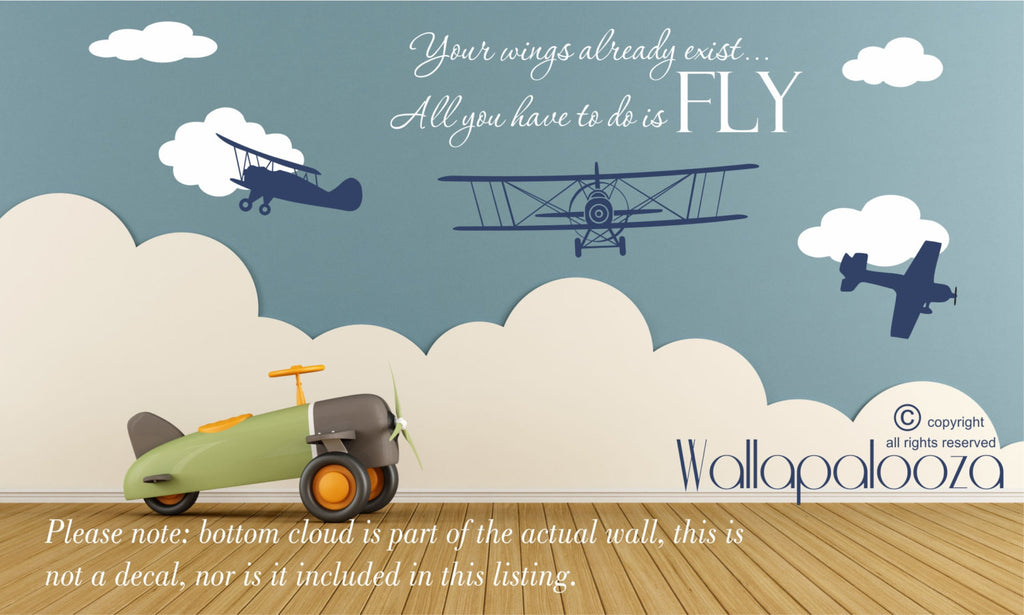 Airplane Wall Decal   Nursery Wall Decal   Flying Wall Decal