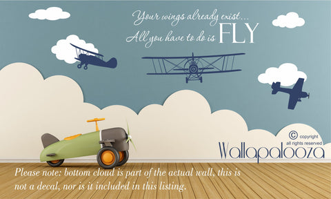 Airplane Wall Decal - Nursery Wall Decal - Flying Wall Decal