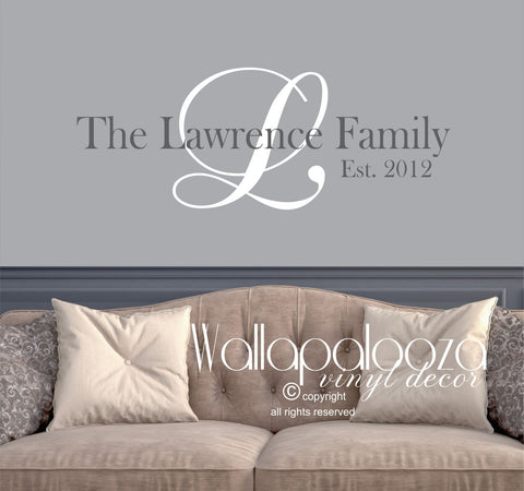 Family Name Wall Decal - Family Room Wall Decal - Family Monogram