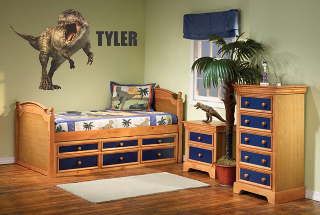 Dinosaur Wall Decal - T-Rex  with Custom Name - Dinosaur Wall Sticker