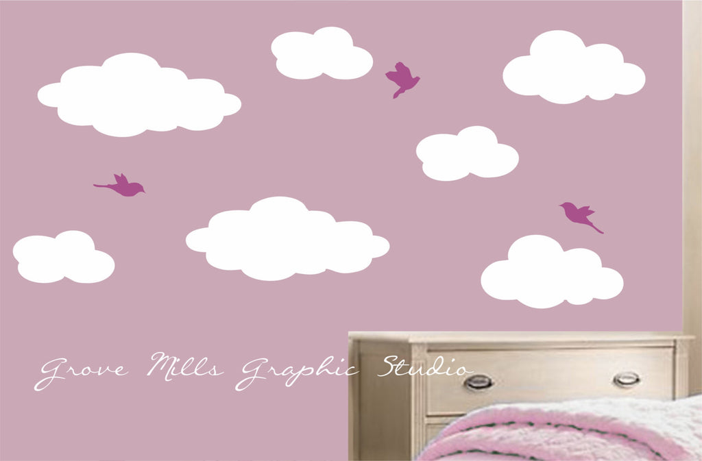 Cloud wall art - Clouds and birds wall stickers - Nursery wall decor ...