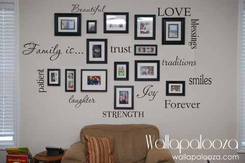 Family Wall Decal - Set of 12 Family Words - Family Room Wall Decals - Wall art