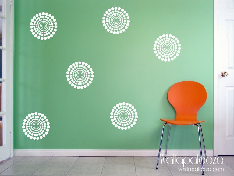 Circle bursts - circle wall decal set - polka dot wall decal