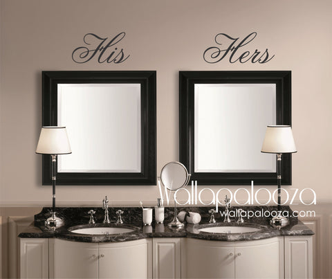 His and Hers Wall Decal - Mirror Decal