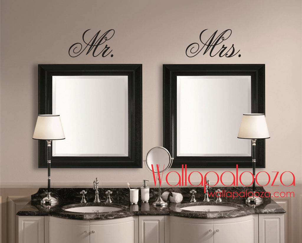 Mr Ans Mrs Wall Decal Mirror Decal Bathroom Wall Decal