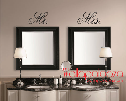 Mr ans Mrs Wall Decal - Mirror Decal - Bathroom Wall decal