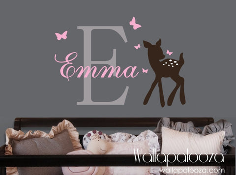 Baby deer wall decal - Deer wall decal - Nursery name wall decal