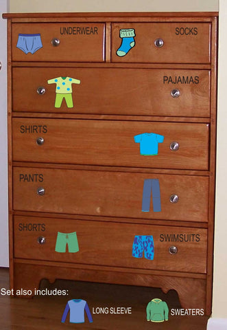Dresser Clothing Decals Labels - Boys room decals - Dresser Labels - Kids labels