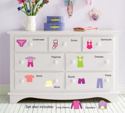 Dresser Clothing Decal - Labels - Girls Dresser Labels - Girls bedroom decals