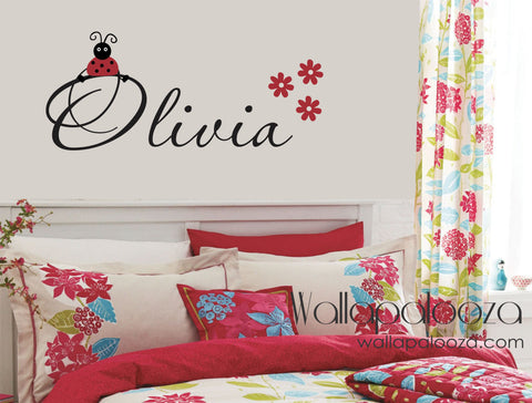 Nursery Wall Decal - Girl's Name Wall Decor - Ladybug Wall Decal