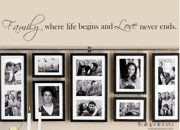 Family Wall Decal - Family where life begins and love never ends