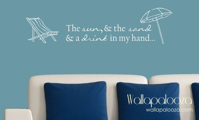 Sun and sand wall decal - Beach wall decal