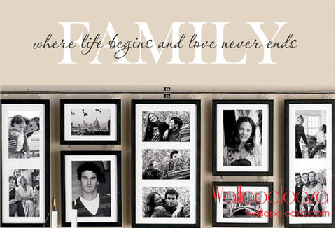 Family Wall Decal - Family Where Life Begins Wall Art - Family Room Wall Decor