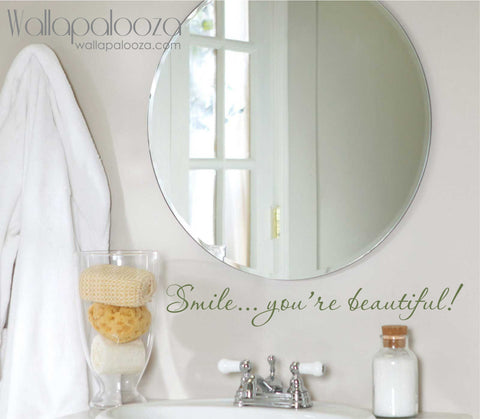 Smile you're beautiful wall decal