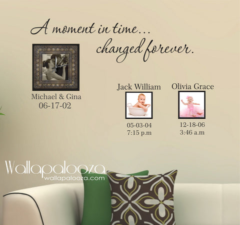 Family Wall Decal - Personalized Wall Art - A Moment In Time
