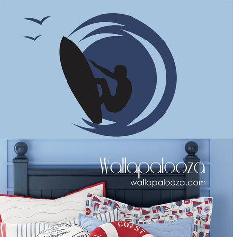 Surfer Wall Decal - Boy's Room Wall Decal - Surf Board Decal