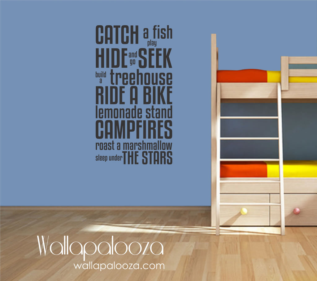 Boy's Rules Wall Decal - Lakehouse Wall Decor - Cottage Wall Decal