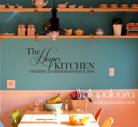 Cooking up Memories wall decal - Kitchen wall decal - Family Name Wall Decal