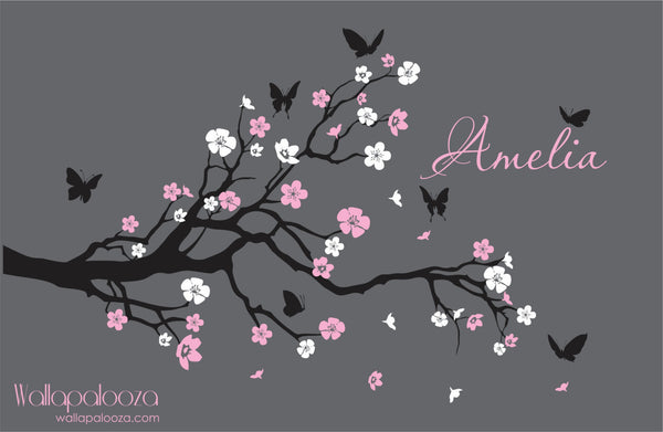 Nursery Branch wall decal - Branch with flowers wall decal - Branch Wall Decor