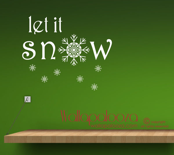 Christmas wall decal - Let It Snow wall decal - Snowflake wall art - Christmas decor