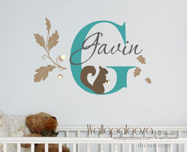 Squirrel Wall Decal - Children's Name Wall Decal - Nursery Wall Decal
