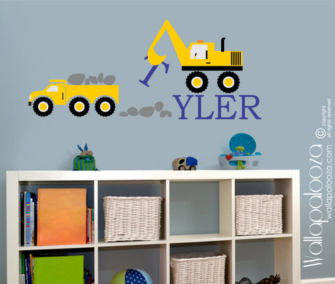 Construction Kids Wall Decal - Nursery Wall Decor - Truck Wall Stickers