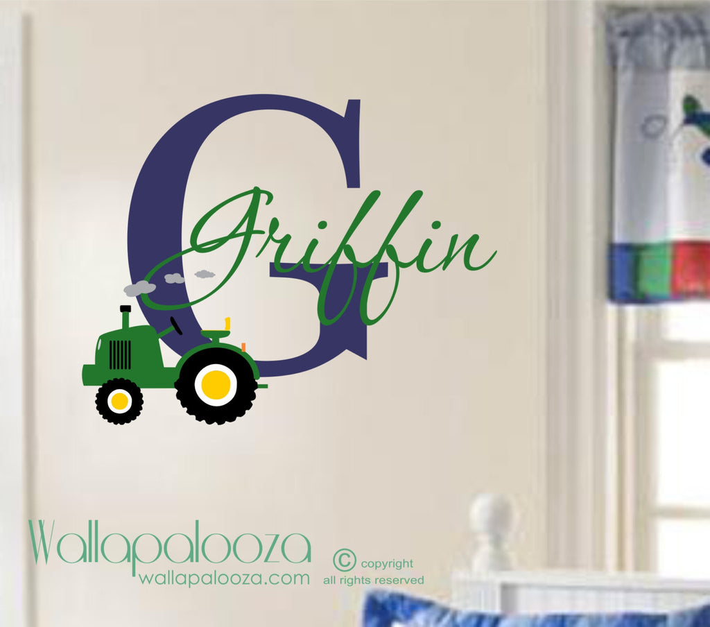 Custom Kids Wall Art - Tractor Wall Decal - Farm Wall Decor