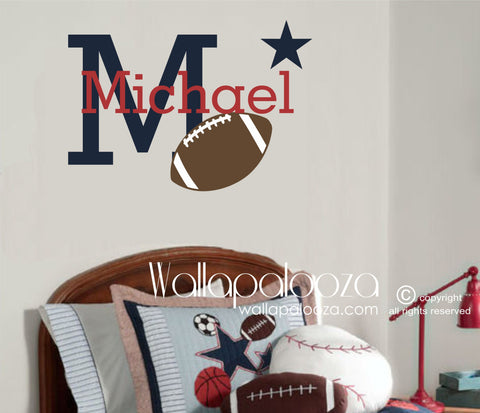 Football Wall Decal - Football Wall Art - Sports Wall Decor with custom name