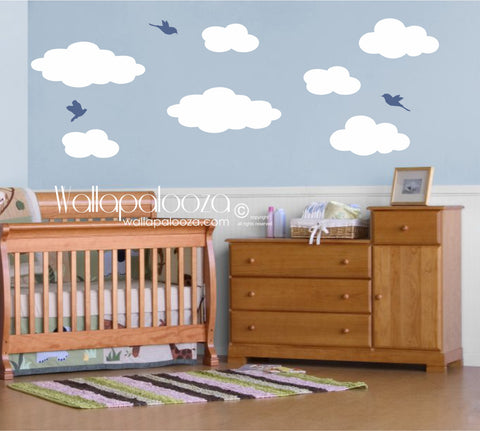 Cloud wall art - Clouds and birds wall stickers - Nursery wall decor
