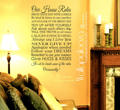 Our House Rules Wall decal - Family Rules Wall decal - In this house rules