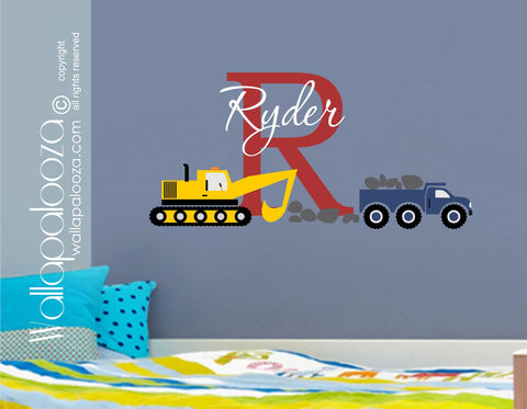 Construction Wall Decal - Trucks Wall Decal - Nursery Wall Decal for Boys